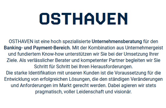 OSTHAVEN - Banking- und Payment spezialisierte Unternehmensberatung